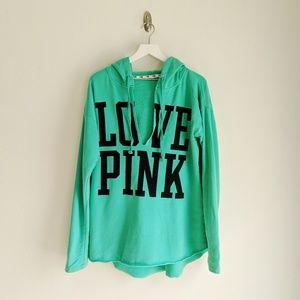 PINK Victoria's Secret Green Raw Hem Sweatshirt
